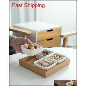Ceramic Sauce Snacks Dish Divided Dipping Bowl Tray Connt Storage Platter Bamboo Wood Box For Kitchen Spices qylbzs bdesports