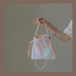 2021 New Girl Dream Cloud Yarn Pearl Handbag Cadena de hadas Princesa Linda lienzo Hombro Mensajero Bolsa Mujer PM23