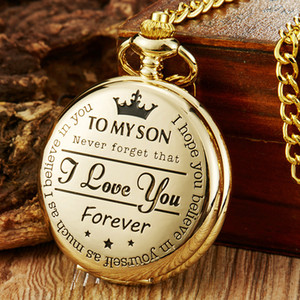Hot Gold Vintage Pocket Watch To My Son Quartz Pocket Watches Fob Chains I LOVE YOU Necklace Pendant Steampunk Children Kids Watches Gifts