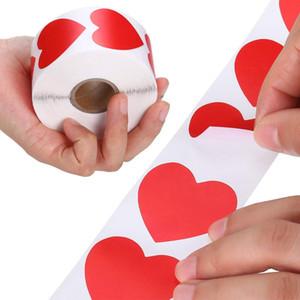 500pcs Grazie Adesivi adesivi cardiaci rossi Adesivi adesivi Handmade Love Etichetta Busta Gega Borsa da regalo Decorazioni per feste di nozze
