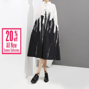 2020 Women Summer Painting Style Loose White Shirt Dress Long Sleeve Print Female Plus Size Party Club Midi Casual Dresses 3400