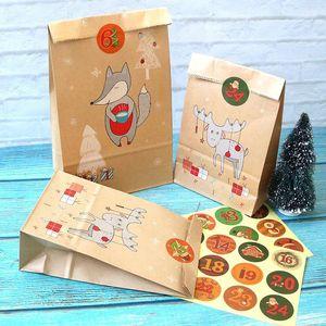 24pcs Kraft Paper Sacs avec Calendrier de Noël Stickers Moose Cadeau Paper Sac Jurious Candy Biscuits Cookies Coffret Décor1