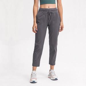 L-102 Yoga Kırpılmış Pantolon Dans Capris Studio Joggers Kemer Drawcord Özelleştirilmiş Fit Açık Egzersiz Spor Gevşek Düz Capris Pantolon