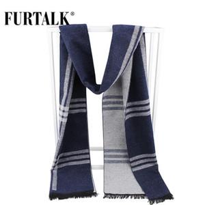 FURTALK 2020 nueva seda de los hombres de invierno a cuadros de punto bufanda caliente bufandas masculinas pañuelo