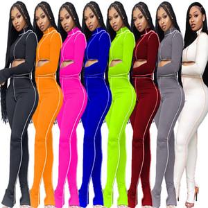 Femmes Tracksuit 2 Pieces Pantalons Set Line Slim Sports Cuissards Designer T-shirt Casual T-shirt Pantalon Crayon Fashion Pantalon Trouble Tenue