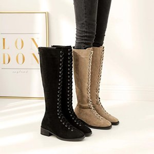 Round Toe Flock Fashion Low Square Heel Over-the-Knee Long Boots for Women Casual Lace-Up Autumn Winter Boots Shoes