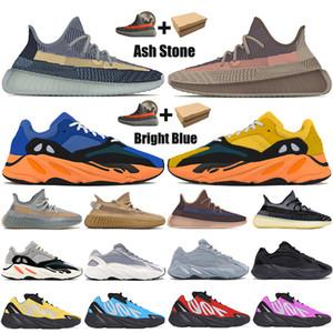 Nouveau Fade Sun carbone kanye naturel ouest 700 v1 v2 MNVN hommes chaussures de course mâchefer carbone bleu hommes de terre Tie-dye womens d'espadrilles
