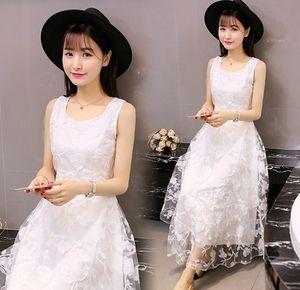تنورة 2020 الشيفون سترة سترة skirtsummer الفتيات الكورية جديدة مثير الرباط الشيفون اللباس الصيف فستان طويل صدرية ضئيلة تنورة pZAiW