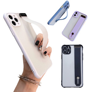 Wristband phone cases TPU soft transparent Shockproof Phone covers Holder for 11Pro Samsung Huawei P30 P40 Pro mate30 Nova7 Pro OPPO Reno 4