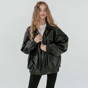 Lautaro Крупногабаритные кожаная куртка женщин с длинным рукавом молния убавьте воротник сыпучих черный плюс размер искусственного кожаные куртки для женщин 201028