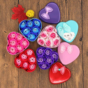 Creative Soap Flower Gift Box Valentine's Day Gift Valentines Day Decoration Rose Flower Heart-shaped Tin Box