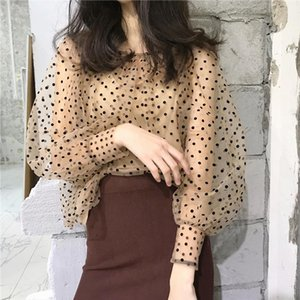 tank top Women Tops Retro Dots Printing Overall Blouse and Apricot Tank Tops Drop Shipping