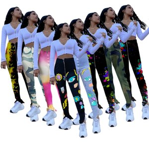 2020Designer Women Flowered Pants Fashion Pit Cremallera High Cintura Split Micro Micro Trumpet Pantalones Mini Leggings Plus Tamaño Nuevo Estilo