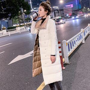 FTLZZ Women Double Sided Down Long Jacket Winter 90% White Duck Down Coat Double Breasted Warm Parkas Snow Outwear 201015