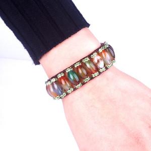 Unique Peahen onyx with Rhinestone Natural Single Leather Wrap Bracelets Handmade Bohemian Weaving Stone Bracelet Dropship