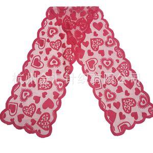 33x183cm Red Heart Pattern Tabla Cubierta Cubierta de tela de mesa para el día de San Valentín Fiesta de boda Decoración del hogar Textiles para el hogar 344 J2