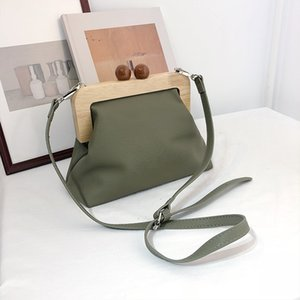 DAUNAVIA Women Messenger Simple Retro Pu Soft Clip Bag Female Shoulder Evening Clutch Purse Leather Handbags Q1106