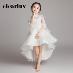 High Collar Flower Girl Dress B049 White Long Sleeves Kids Evening Gowns Short Front Long Back Wedding Party Dress for Girl Kids