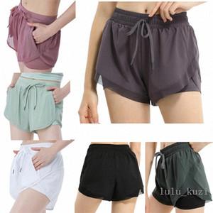 Lulu women loose yoga shorts pocket quick dry gym sports Leggings shorts pants Women 2020 new style dresses 2021 X38H#
