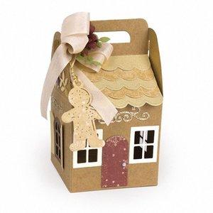 DIY عيد الميلاد البيت على شكل هدية حقيبة قطع يموت سجل القصاصات ورقة كرافت النقش لكمة استنسل قالب PI669 9156 #