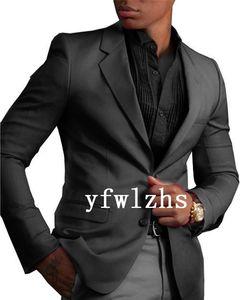 Handsome Two Buttons Groomsmen Notch Lapel Groom Tuxedos Mens Wedding Dress Man Jacket Blazer Prom Dinner suits (Jacket+Pants+Tie)W215