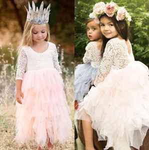 2021 NEW Beautiful Cute Puffy Tulle Flower Girl Dresses V Cut Back Pearls Beaded Jewel Neck Kids Wedding Party Gown Pageant First Communion