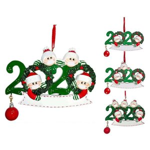 2020 Christmas Snowman Hanging Ornaments DIY Name Quarantine Family Ornament Xmas Tree Pendant Party Gifts Featival Decoration