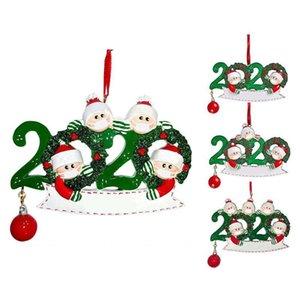 2020 del muñeco de nieve colgantes regalos del partido adornos colgantes DIY Nombre cuarentena familia del ornamento del árbol de Navidad Decoración Featival
