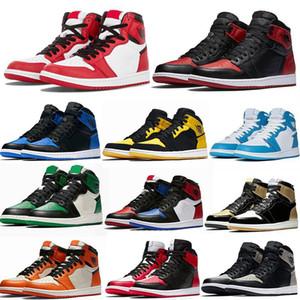 Jumpman 1 Basketball Shoes Running shoes Yeşil Siyah Mahkemesi Mor Kraliyet Bred Burun NC Obsidian UNC oyunu basketbol Sneakers eğitimcilerin Ayakkabı