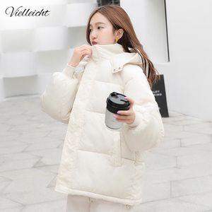 Vielleicht New Short Winter Women's Jacket Loose Style Female Hooded Women Parkas Plus Size Cotton Down Jacket Women Coat 201019
