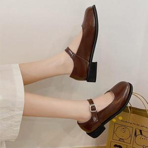 Plus Size 34-42 Women Mary Janes Shoes 3cm Low Heels Dress Shoes Office Work 2020 Autumn Spring Lolita Black 8391G