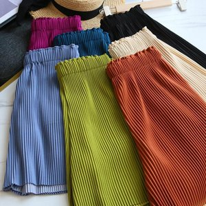 Womens Summer Casual Loose Pants Pleated Shorts