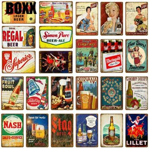 Drink Alcohol Lager Beer Plate Vintage Wine Stag Poster Retro Metal Signs Bar Pub Cafe Hotel Home Decor Wall Art Painting Plaque