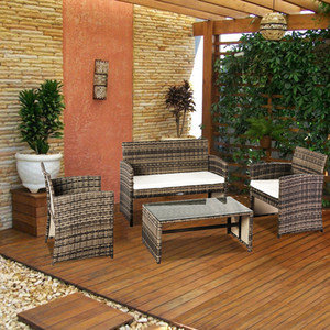 WACO 4-PCS Rattan Patio Furniture Set Wicker Conversation Set Garden Lawn Outdoor Sofa Set with Cushioned Seat and Tempered Glass Table Top