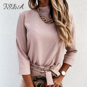 FSDA 긴 소매 화이트 블라우스 셔츠 여성 목걸이 가을 2020 캐주얼 블랙 Offiec 우아한 숙녀 탑 셔츠 섹시한 빈티지 블라우스