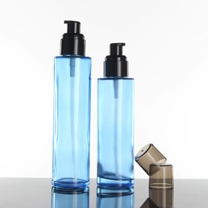 6ps Blue Glass Refillable Perfume Bottle with Fine Mist Spray Pump Cap, Lotion pump bottle 80ml empty cosmetic containers
