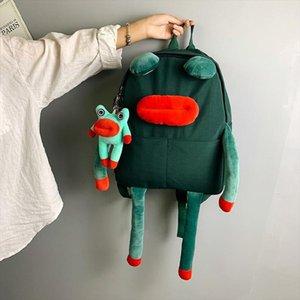 Designer- Animal Cartoon Frog Backpack Women Multifunction Students School Bag For Boys Girls Creative Fashion Cute Oxford Cloth Backpacks