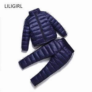 LILIGIRL Bambini Giù sportivi del cotone dei vestiti Set per ragazzi ragazze Inverno Down-Jackets + Pants Tuta Suit New Baby Snowsuit 0927