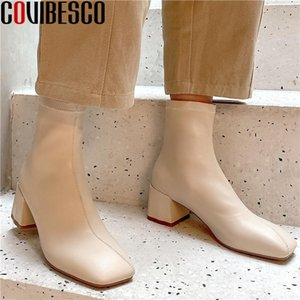 COVIBESCO Elegant Square Toe Winter Ladies Boots Comfortable 2020 Newest Basic High Heels Pumps Wedding Working Shoes Woman