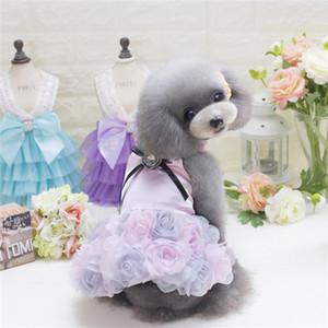 Supplies cão de estimação cão rosa vestido de noiva princesa linda roupa pano para vestuário de cachorro pequeno