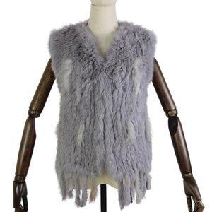 Harppihop * вязать вязаные ручной кролик меховой жилет жилет без рукавов одежды жилета