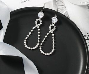 Hotsales Alloy and Silver Plated Fashion but Vintage Eight Water Drop Shapes Diamond Hooks Long Earrings For Young Lady