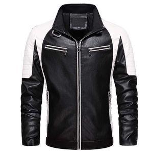 MANTLCONX Высокое качество Черный кожаный PU способа куртки Windbreak Zipper Jacket Кожезаменитель Мотор Байкер куртки Пальто и пиджаки Мужчины