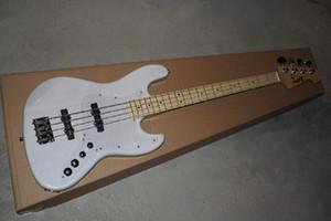 Livraison gratuite de haute qualité Custom Shop blanc 4 cordes système d'accord jazz guitare basse électrique