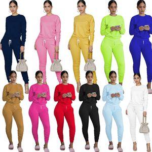 Женщины Дизайнеры одежды 2020 Сплошной цвет с длинными рукавами пуловер Спортивная Повседневный двухкусочный Эпикировка Женщины Плюс Размер одежды