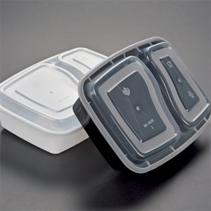 Disposable 900ML Plastic Food Box 2-compartment Food Lunch Storage Holoder 2 colors Take Out Tableware