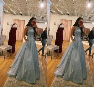 Fashion Dusty Blue Sequined Evening Formal Dress 2021 with Pockets Bateau Neckline Cheap Long Bridesmaid Prom Party Dress Plus size