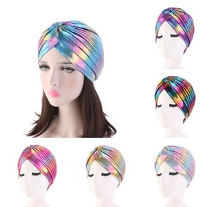 Nouveaux femmes colorées Musulman Veil Veil Veil Inner Casquettes Laser Silky Cross Silky Turban HeadWrap Femmes Écharpe Musulman Scarf Headscarf