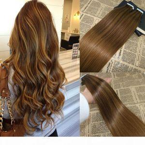 Real REMY HUMAN HUMAN PELO OMBER INS Extensiones Bronde Color Color Piel Themh Cinta en extensiones de cabello Pegamento de grado 8A en Extensions100g 40pcs