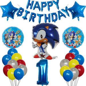 37pcs Cartoon Sonic Foil Balloon The Hedgehog Boy Girl Birthday Party Decorations Number Balloons Baby Shower 1st Party Supplies 1027
